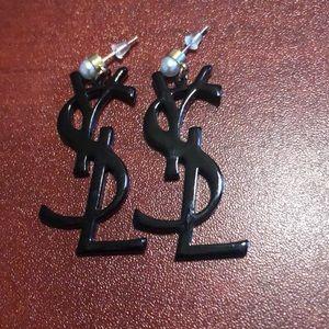 Black and pearl earrings.